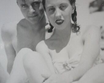 Iconic 20th Century Vernacular Photo - Red Lipstick, Handsome Fella, Beach Lovers