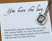 Key to My Heart necklace - Heart Lock Petite Wax Seal Necklace - 287