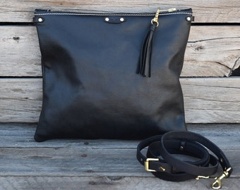 Black Leather Small Crossbody Bag / Fold Over Clutch  / Zipper Clutch /Tablet  Sleeve / Feral Empire / Small Purse