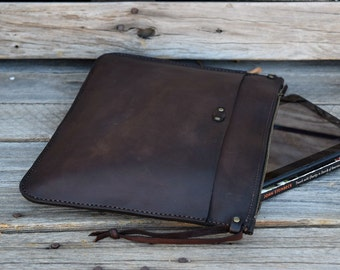 Handmade Leather Portfolio / Tablet Case / Handmade Leather Pouch  / Mens Zipper Bag /  Large Zipper Clutch / Mens Gift