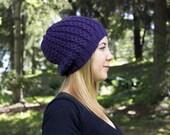Lila Slouchy stricken Hut - dunkel lila Vegan Hut - Boho-Hut - Hipster - Hippie Hut - Womens Tam - Mens Beanie - Mütze handgestrickt - Geschenk für Sie