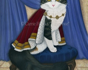 King Cat Painting Prince Anakin The Two Legged Royal Cat Regal Fantasy Cat Art Limited Edition Canvas Print 11x14 Art For Cat Lover