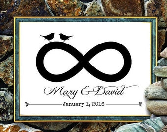 Custom Print - Infinity Anniversary or Wedding - Names and Date - Personalized