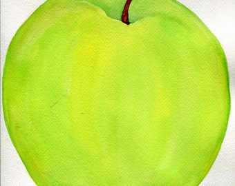Granny Smith Apple watercolor painting original, Kitchen decor, original watercolor painting green apple 9 x 12 apple painting