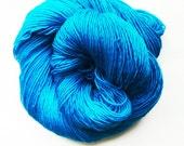 turquoise / hand dyed yarn / fingering sock dk bulky yarn / super wash merino wool yarn / single or ply/ choose base / green blue yarn