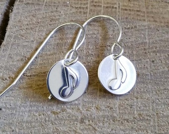 Tiny Music Note Sterling Silver Earrings - Music Jewelry - Musician Gift - Music Teacher, Women - Music Note Jewelry, Small