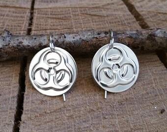 Biohazard Earrings -Sterling Silver - Science Jewelry - Geekery Nerd Jewelry - Toxic Biology Humor, Women, Scientist