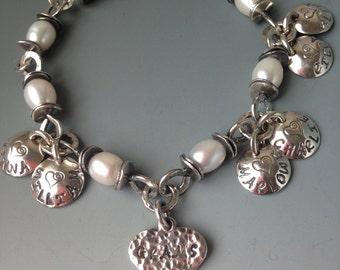 Grams Bracelet Grandma 6 Six Children Names Birthdates Grandmother Jewelry Personalized Sterling Silver Heart