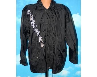 Cheetah Black Full Zip Windbreaker Jacket Vintage 1990s