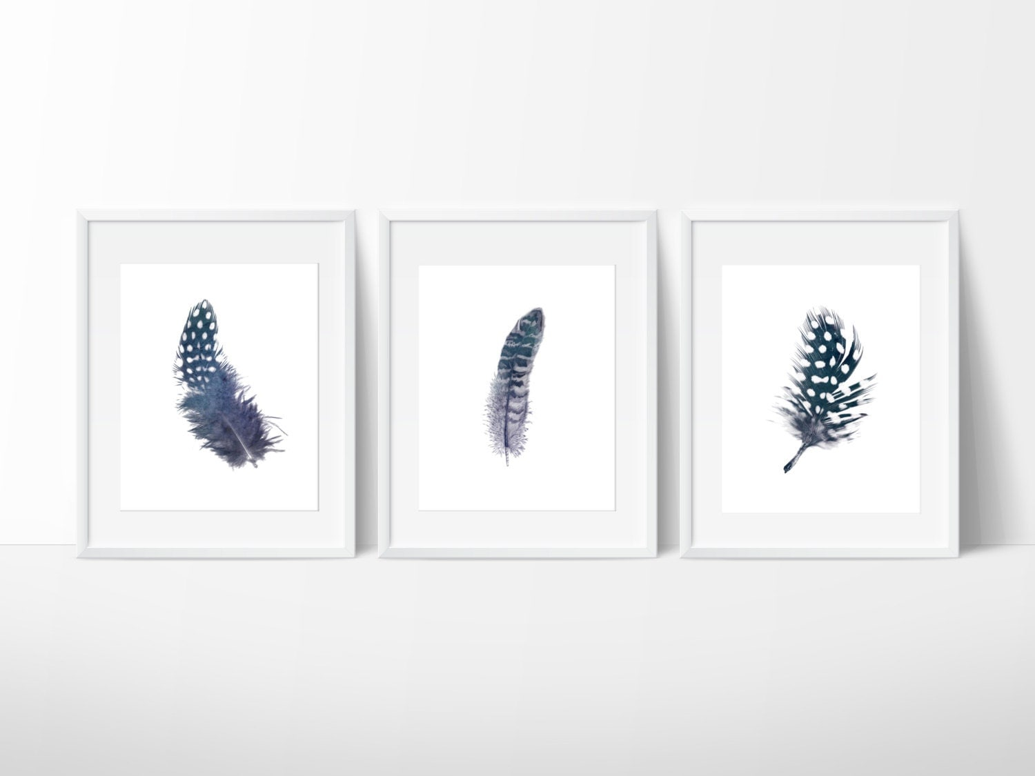 Set of 3 indigo feather prints navy feather print feather for 3 by 3 prints