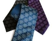 Atom necktie. Atomic tie. Molecule, atoms print science tie: Nucleus, electron model. Nuclear medicine, atomic energy gift.