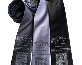 Hamlet Book Print Necktie. Shakespeare men's tie. Literary gift, English teacher, theater, writer, bookworm, author, reading gift.