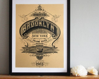 Brooklyn Screen Printed Poster. Brooklyn New York art print, 19x25 silkscreen print. 1908 nyc map typography screen print.