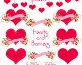 Hearts and Floral Banners Clip Art, Pink Hearts Clip Art, Digital Scrapbooking, Valentine's Day Clip Art, Valentine Hearts, Heart Graphics