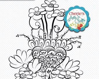 Flower Digi Stamp | Digital Illustration | Line Art Drawing for Coloring | PNG Clip Art | Flower Graphic | Instant Digital Download Clipart