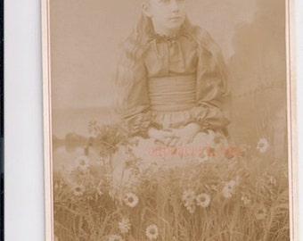 Among the Flowers long hair child girl Victorian cabinet card photo