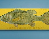 Smallmouth Bass Art Block Sign- Lake House Art- Fish Print Gift for Son- Smallmouth Bass Print- Bass Fishing Gifts for Men- Dad Gifts