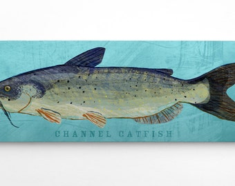 Unique Fishing Gifts for Him- Dad Gifts- Channel Catfish Art Block- Lake House Art Gifts for Brother- Channel Catfish Block- Fish Gift Ideas