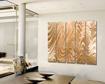 Copper Multi Panel Wall Art, Indoor Outdoor Metal Wall Art Painting, Contemporary Wall Sculpture - Copper Hypnotic Sands Epic by Jon allen