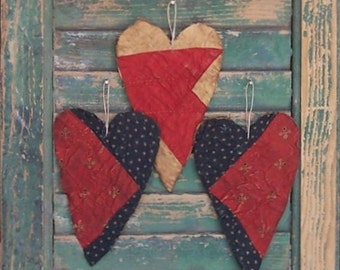 Primitive Heart Ornaments, Rustic Tattered Hearts, Americana Farmhouse Christmas Decor, Antique Quilt Hearts, Red White Blue (set of 3)