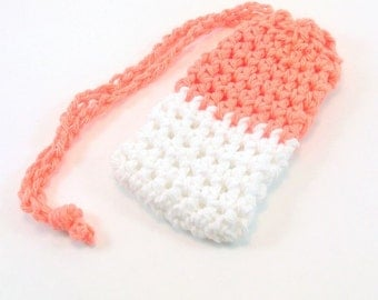 Crochet Soap Saver, Cotton Soap Saver, Orange Soap Saver, White Soap Saver, Crochet Soap Sack, Crochet Soap Bag