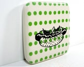 tile featuring a Chicago Style Hot Dog on a modern leaf green polkadot print. Ready to ship.