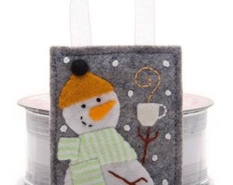 Felt Snowman Ornament, Handmade Christmas Tree Ornament, Embroidered Wool and Felt, Snow Man Holding Mug of Hot Chocolate, Gift Decoration