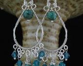 CUSTOM ORDER - Blue Green Wire Wrapped Long Silver Earrings, Wire Wrapped Blue Green Jewelry, Long Stone Swarovski Bead Wrapped Earrings