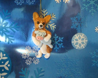 Corgi dog Christmas Ornament, clay, with cow, stuffy, handmade, whimsical, gift, dogs, pembroke