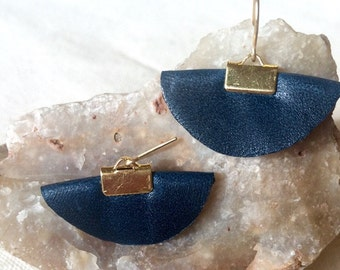 Navy leather, handcrafted semi circle drop earrings