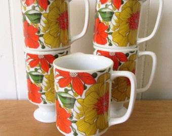 5 vintage flower pedestal mugs