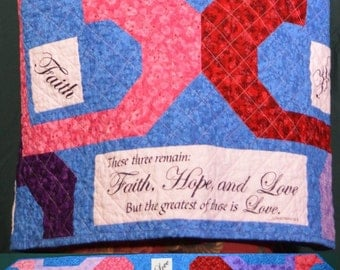 Faith, Hope and Love Hearts Quilted Prayer Shawl
