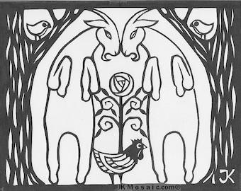 "Goat Twins, original papercut, framed 11"" x 14"""