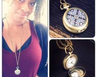 """Decorative Motive Art Watch Necklace - Brass Pocket Watch Necklace - 1.75"""" round - 30 inch long - Real working watch - Purple Motif - SMALL"""