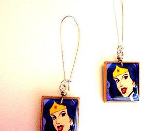 Wonder Woman Scrabble Earrings - Repurposed Recycled- Comic Hero - Comic Hero Earrings - Gift idea for girlfriend