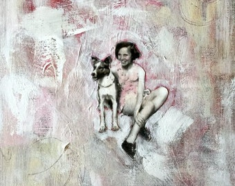 painting dogs with vintage children original art heather murray