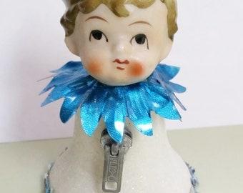 Blue Boy Vintage Assemblage Folk Art Mixed Media Altered
