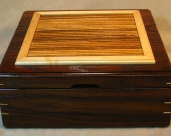 Tea Box, Jewelry Box, Silverware Box - Toasted Ash & Zebrawood
