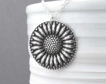 Sunflower Necklace Long Silver Necklace Sterling Silver Large Circle Pendant 30 Inch Necklace Holiday Gift for Her Bohemian Jewelry