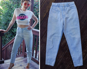 Light BLUE 1980's Vintage High Waist Skinny Jeans with Tapered Zip Ankles + Bows // waist 28 29 Small Medium// by Action WEST