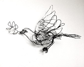 Dove Ornament With Olive Branch- Wire Drawing Bird Sculpture