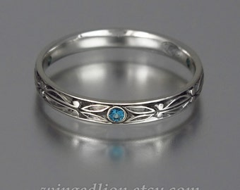 AUGUSTIN silver band with London Topaz accents mens unisex stackable ring
