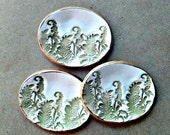 THREE  Fern Itty Bitty Ceramic Ring Dishes 2 1/2 inches Long edged in gold