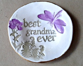 Personalized Ceramic GRANDMA Trinket Bowl  edged in gold  Mothers day