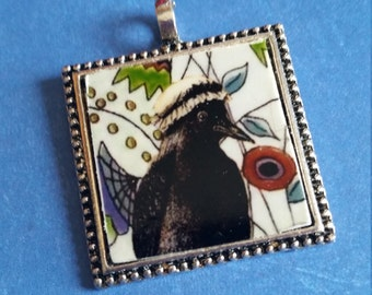 Crow pendant tinyartjewelry  pendant