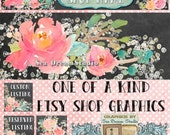 Watercolor Florals Etsy shop Banner and Avatar by Sea Dream Studio  OOAK