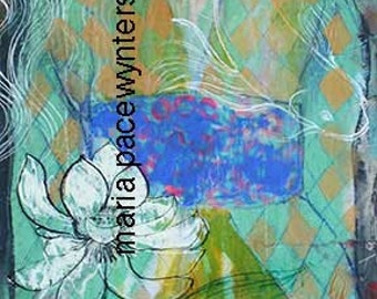 Float Above It- Original mixed media/encaustic painting by Maria Pace-Wynters