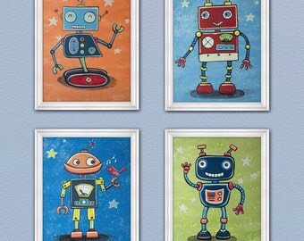 Set of Four Robot Friends Nursery Art Prints. Made to Match mechanical heroes bedding