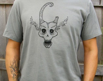 Demon Skull Men's Graphic Cotton Tee Shirt, Hand Screen Printed,  Grey, Gift for Him-Unisex Sizes