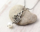 Oxidized Silver Rose and Pearl Necklace